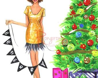 Christmas art,Christmas gift, Holiday art,Gift for her,Fashion Illustration,Fashion wall art,Fashion art,Fashion print,Girly sketch