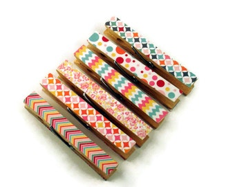 Altered Clothespin  Clips  Decorative  Wooden Clothespins in Happy Day