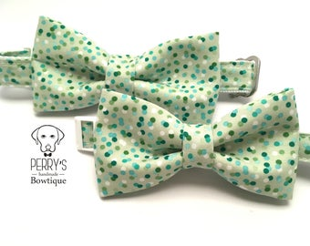 Green Dots Bow Tie and Collar