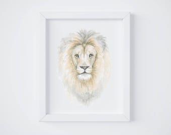 Lion Head Art Print - Lion art - Lion Painting - Safari Animal - Safari Animal Painting - Lion - Watercolor - Home Decor - Lion Head