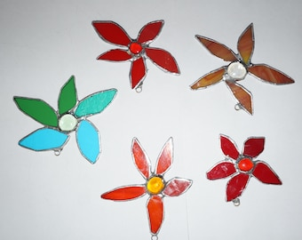 Stianed Glass flower Christmas Ornaments