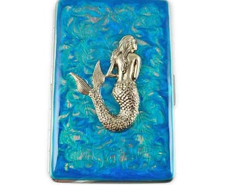 Mermaid Cigarette Case Inlaid in Hand Painted Enamel Turquoise Swirl Design Nautical Inspired Metal Wallet w Personalized and Color Options