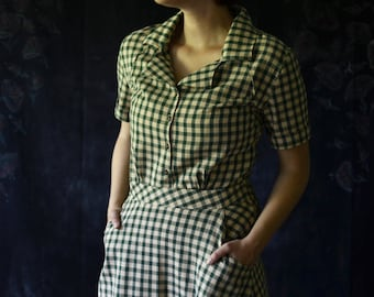 1930's Dress / Vintage Dress / Retro Dress / 1940's Dress / Gingham 1930's / 1920's Dress / Summer Dresses for Women / Summer Dress / Cotton