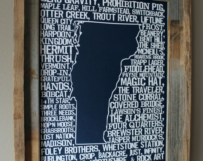 Beers of Vermont Word Map (Dark Blue)