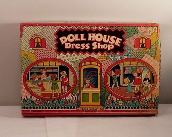 1938 Toy Box Only for Transogram Doll House Dress Shop, Colorful Girls
