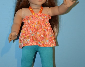 Orange Flowered American Made Summer Top Fits 18 In. Girl Doll-Mock-Smocked Style-Leggings-Doll Clogs Optional-Made to order-Fresh & Summer!