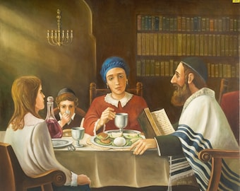 Oil on Canvas Original Signed Painting by Ben Zvolon Jewish Family Around the Table
