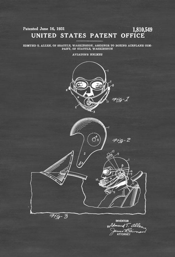 Aviators helmet patent aviation blueprint vintage te gusta este artculo malvernweather Choice Image
