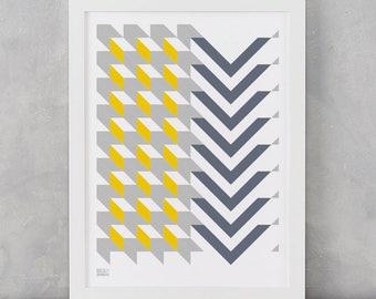 Geometric Print, Chevron Grey and Yellow, Geometric Shape Screen Print, Wall Art, Home Decor