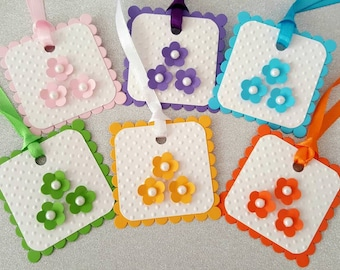 6 Happy Easter tags / spring gift tags / easter tags / handmade easter tags / easter party favors / easter party tags