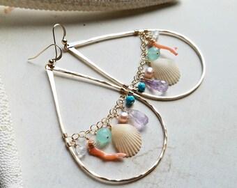 Large Beach Cluster Earrings, Hawaiian Shell Hoops, Colorful Gemstone Hoop Earrings, Boho Beach Hoops:  Ready Made