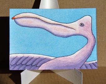 ACEO. Artist trading card. Watercolour. 'Pelican Jill.'