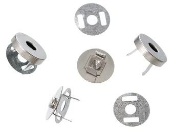 "20 sets 14mm Silver Magnetic Purse Snaps - Closures 1/2"" diameter t676"