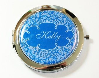 Custom compact mirror, personalized, compact mirror, bridesmaids gift, wedding party gift, pocket mirror, personalized mirror, damask (2654)