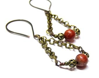 ON SALE TODAY Red Jasper Earrings, Chain Earrings, Dangle Earrings, gift for her gift for boss jewelry for women Red Earrings Brass Earrings