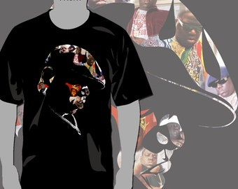 Biggie Smalls Notorious BIG Poppa T-Shirt Rap Hip-Hop - Full Color Glitter Print