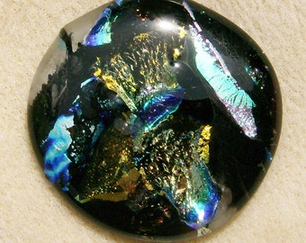 Dichroic Glass Cabochon - Gorgeous Gold, Silver & Blue Multicolored Round, Handmade by JewelryArtistry - DC834