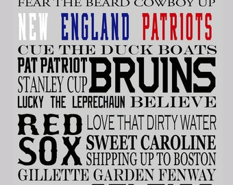 Boston Sports with team highlighted Print 11x14