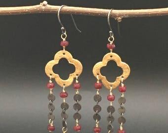 Quatre Foil Chandalier Earrings, Ruby earrings, 24k vermeil Earrings, oxidize silver earrings, earrings under 100