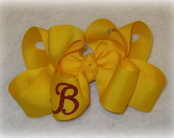 Monogram Hair Bow, Initial hair bow, Monogrammed Bows, Girls Bows, Boutique Hairbows, Double Layer Hair Bow, Personalized Hair Bows, School