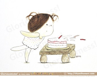 "Cute Birthday Cake A5 Art Print - ""Huff & Puff"" Says Little Girl CurlieQ - Adorable Children's Illustration"