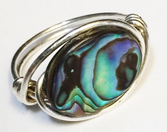 Abalone Ring    Abalone Jewelry   Sterling Silver Ring  Silver Rings for Women