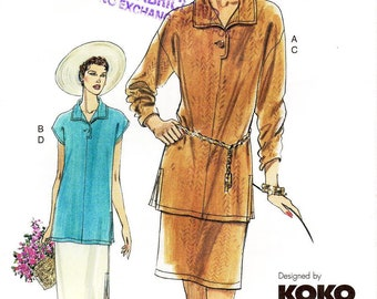Sz 8/10/12 - Vogue Separates Pattern 7612 by KOKO BEALL - Misses' Dropped Shoulder Tops and Straight Skirts - Very Easy Vogue Patterns