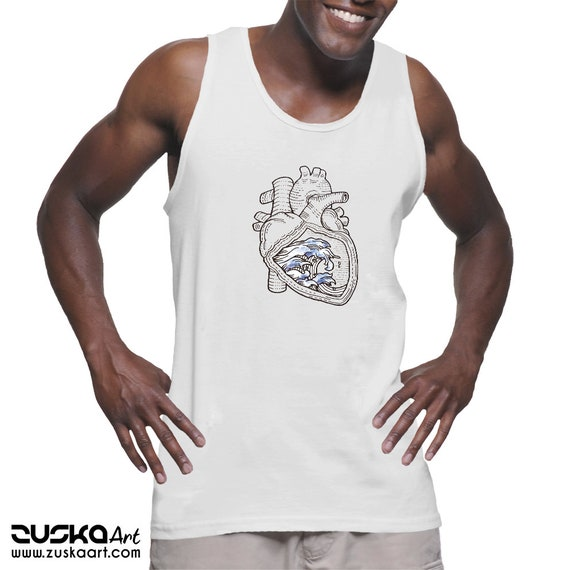 Ocean Heart   American Apparel  Fine Jersey Unisex Tank Top   Tattoo style   Beach graphic shirt   Pen and Ink Waves   Anatomical Heart  