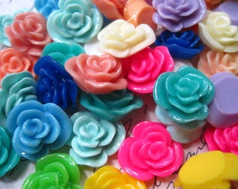 Resin Cabochons / 24 pc Mixed Lot Resin Flowers / 14mm Resin Rose Cabochons / Mixed Lot