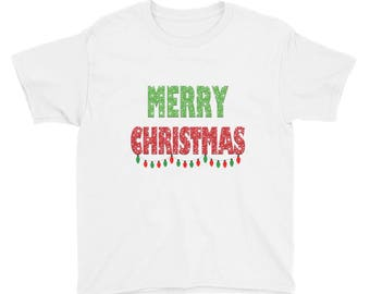Merry Christmas with Lights Youth Short Sleeve T-Shirt