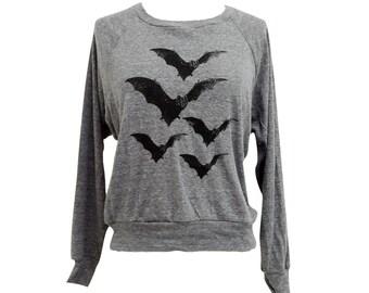 Bat Raglan Sweatshirt - BATS American Apparel SOFT vintage feel - Available in sizes S, M, L