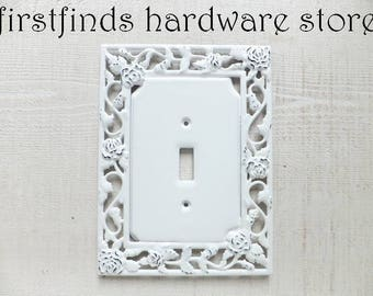 Light Switch Cover Plate Shabby Chic White Black Electrical Painted Cottage Decor Rose Garden Design Framed Single Toggle DESCRIPTION BELOW