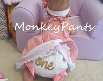 Gold One Diaper Cover - Baby Girl Diaper Cover - Embroidered Baby Bloomers - Pink and Gold Party- Photo Prop
