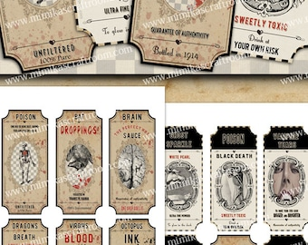 Halloween Apothecary Labels, Halloween bottle digital labels, Halloween Jar labels, Printable download digital collage sheet gift tags