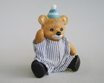 Vintage Homco Ceramic Teddy Bear Boy Figurine Poseable Party Hat