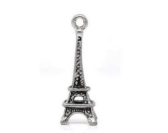2 pendant, charm Eiffel Tower - silver - 20 x 7 mm