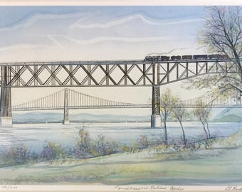 Poughkeepsie Railroad Bridge, Hudson River painting, gift priced