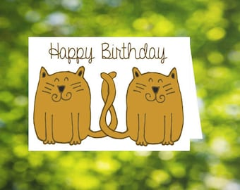 Two cats, tails entwined, Birthday card