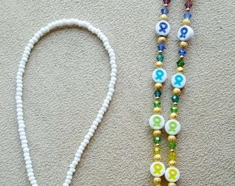 Cancer Awareness Ribbons Rainbow Colors Swarovski Elements  Crystal Eyeglass Chain Donation