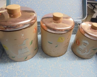 SET of THREE VERY Vintage kitchen canisters