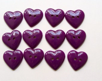 1 Dozen Heart Shaped Buttons 21 mm - Purple - Buttons