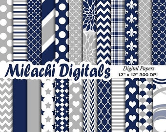 60% OFF SALE Navy Blue and Gray digital paper, patterns, scrapbook papers, wallpaper, digital scrapbooking, background - M579