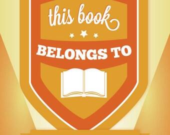 """Adhesive bookplate: Orange & Yellow Badge, 4""""x5,"""" pack of 10"""
