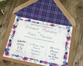 Scottish wedding invitations purple, blue tartan and thistles wedding invites, castle wedding, Scotland wedding, highland wedding, UK