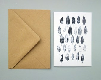 Card with black and white monoprint, 'Lysimachia'. A6, folded, blank inside, with envelope.
