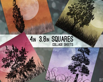 """Moonlight Trees 3.8"""" x 3.8"""" Square and 4 x 4 Inch Digital Collage Sheet C0009 for Gift Tags Coasters Magnets Scrapbooking JPG"""