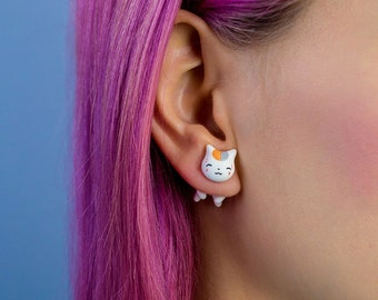 Cute cat earring nyanko sensei polymer clay jewelry fake gauge plug tunell stud anime kawaii gift cosplay kitty accessories cute cat earring
