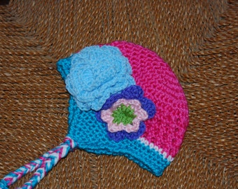 Hot Cross crochet beanie with earflaps