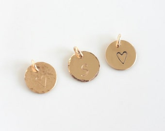 Add a Disc Charm - Gold Filled Stamped Initial Charm
