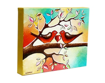 Valentine's Day Gift Love Birds Art Original Acrylic Painting Wall Decor Whimsical Bird Painting on Canvas 8x10x1.5